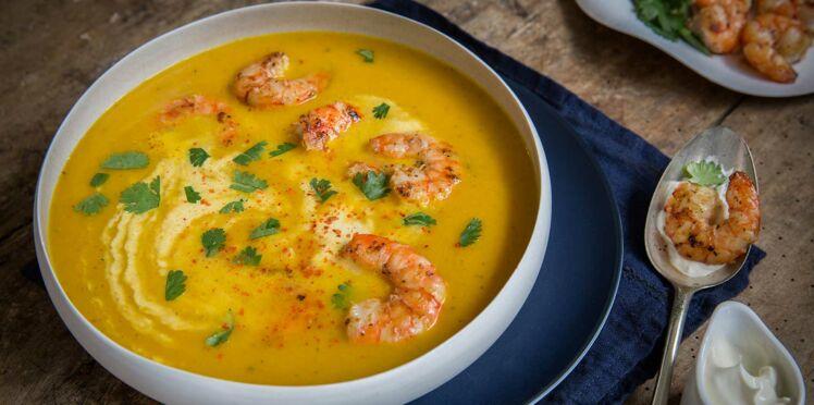 Gambas rôties en papillote et soupe de carotte et poivron jaune