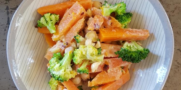 Salade de pois chiches et légumes vapeur