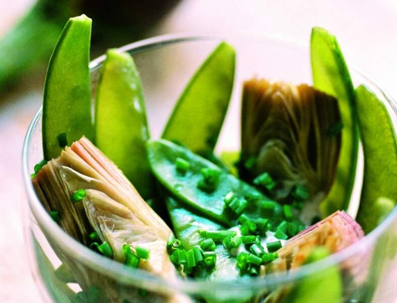 Salade d'artichauts violets et pois gourmands