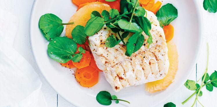 Cresson, carotte, pamplemousse, cannelle et poisson blanc