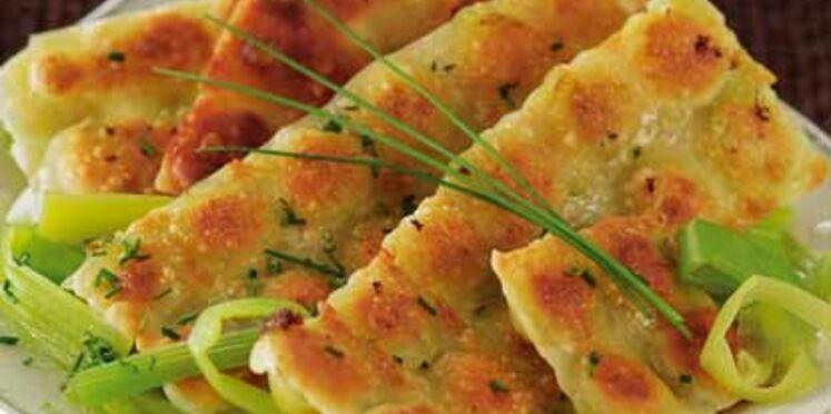 Ravioles grillées sur fondue de poireaux