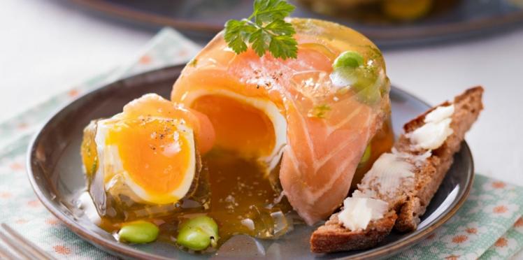 Aspics aux saumon et fèves