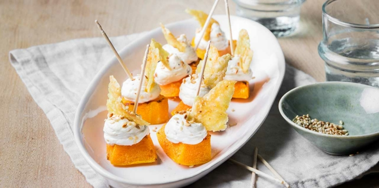 Butternut rôti au four, chantilly sésame et tuiles de Raclette RichesMonts