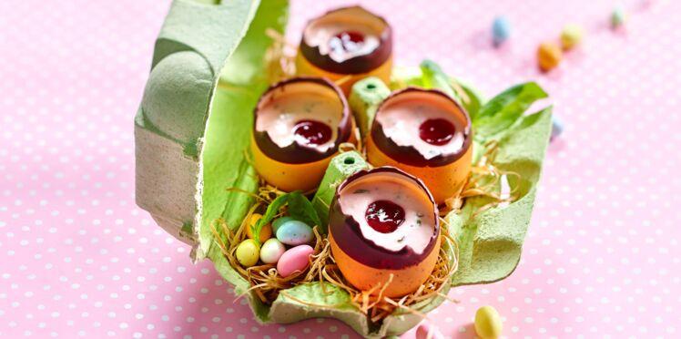 Oeufs en chocolat fraise-basilic