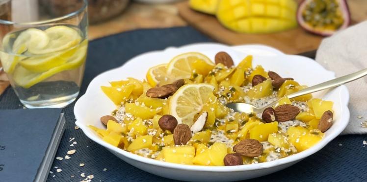 Porridge sans cuisson mangue et passion