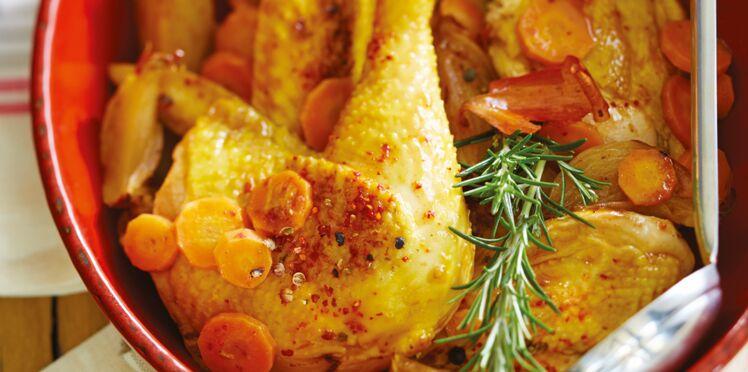 Poulet fermier oignons carottes