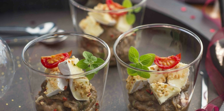 Caviar d'aubergines, crumble cacahuètes