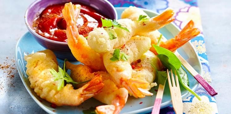 Beignets de crevettes et ketchup épicé