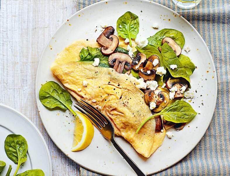 Omelette champignons, feta et épinards