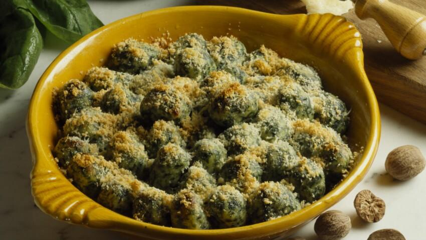 Gratin de gnocchis aux épinards
