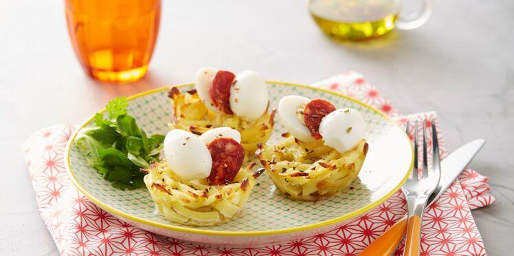Nids de Ratte du Touquet, œufs de caille et rondelles de chorizo