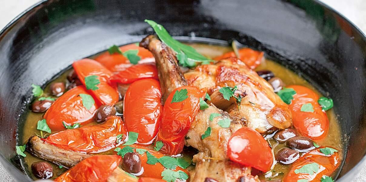 Lapin, céleri, tomates, olives