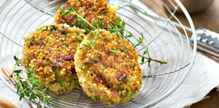 Galettes de quinoa aux brocolis et au jambon