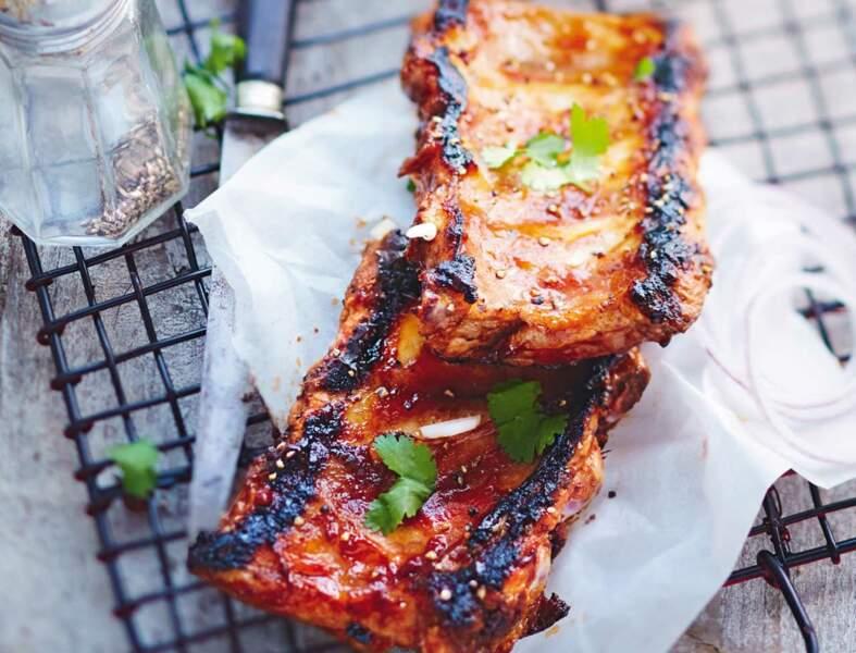 Travers de porc, sauce barbecue