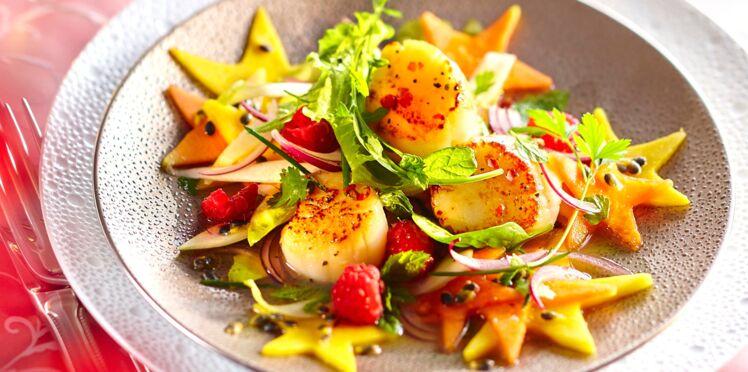 Salade de Saint-Jacques grillées, vinaigrette passion
