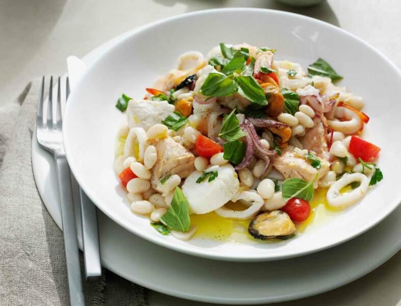 Salade de fruits de mer tièdes à l'amalfitaine