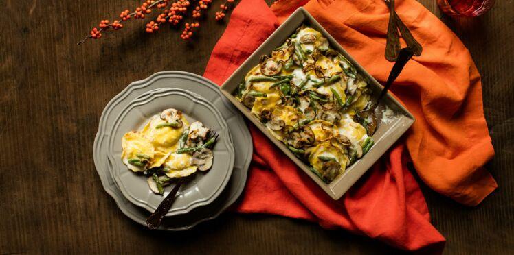 Cocotte de Ravioli aux cèpes, haricots verts et champignons