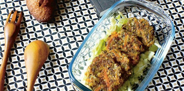 Galettes aux champignons et salade de chou
