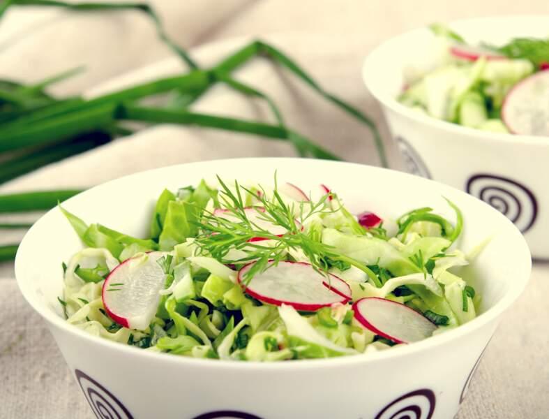 Salade de chou blanc, chou-rave et radis