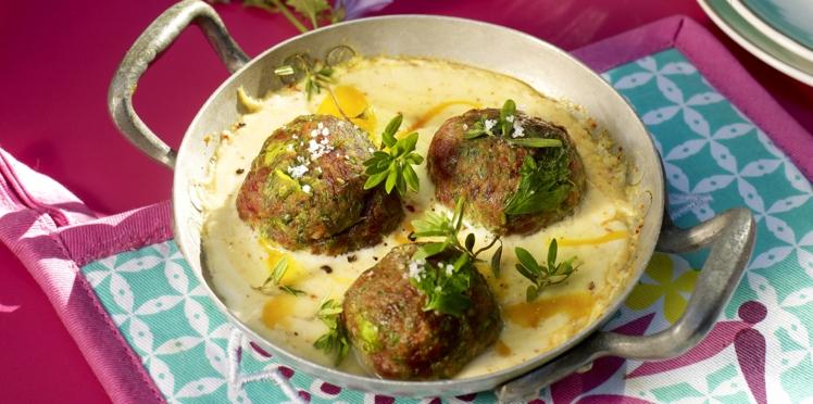 Boulettes de viande en gratiné de yaourt