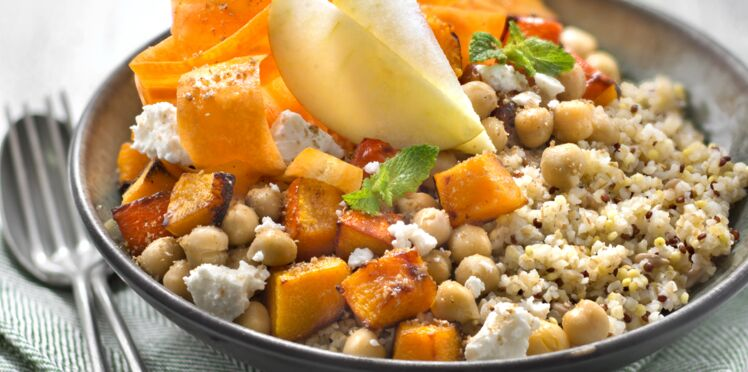 Bowl boulgour, millet, quinoa rouge, courge et pois chiches