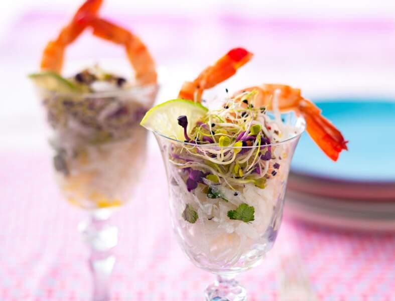 Salade de radis noir aux gambas
