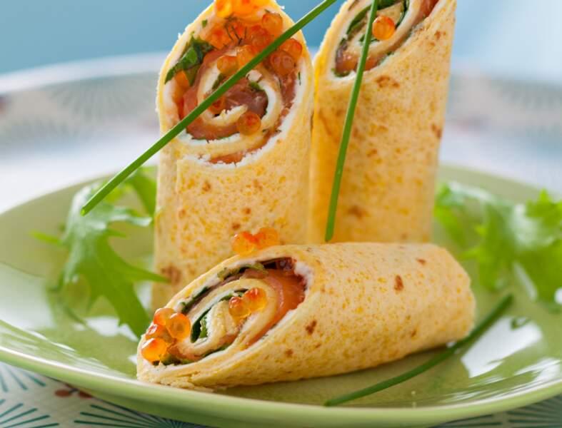 Wrap au saumon et chèvre frais