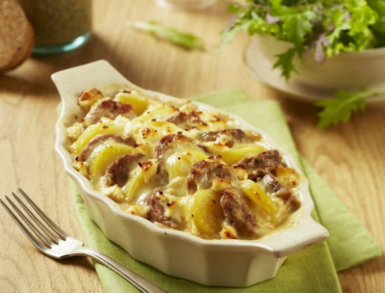 Gratin d'andouillette et pomme de terre au four
