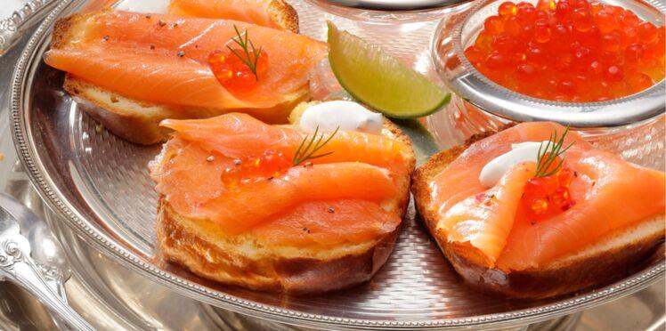 Saumon fumé, œufs et dés de saumon
