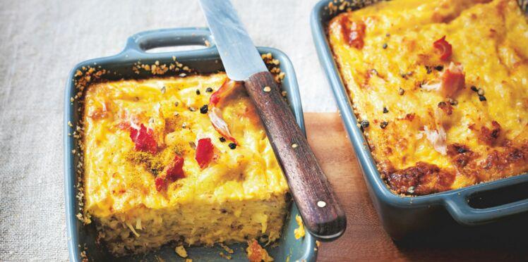 Clafoutis de crabe et curry