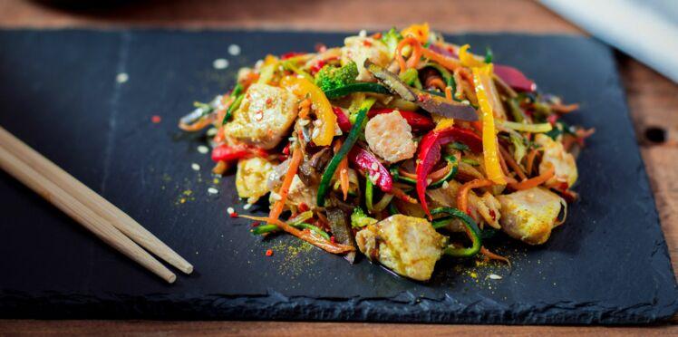 Wok de petits légumes au poulet