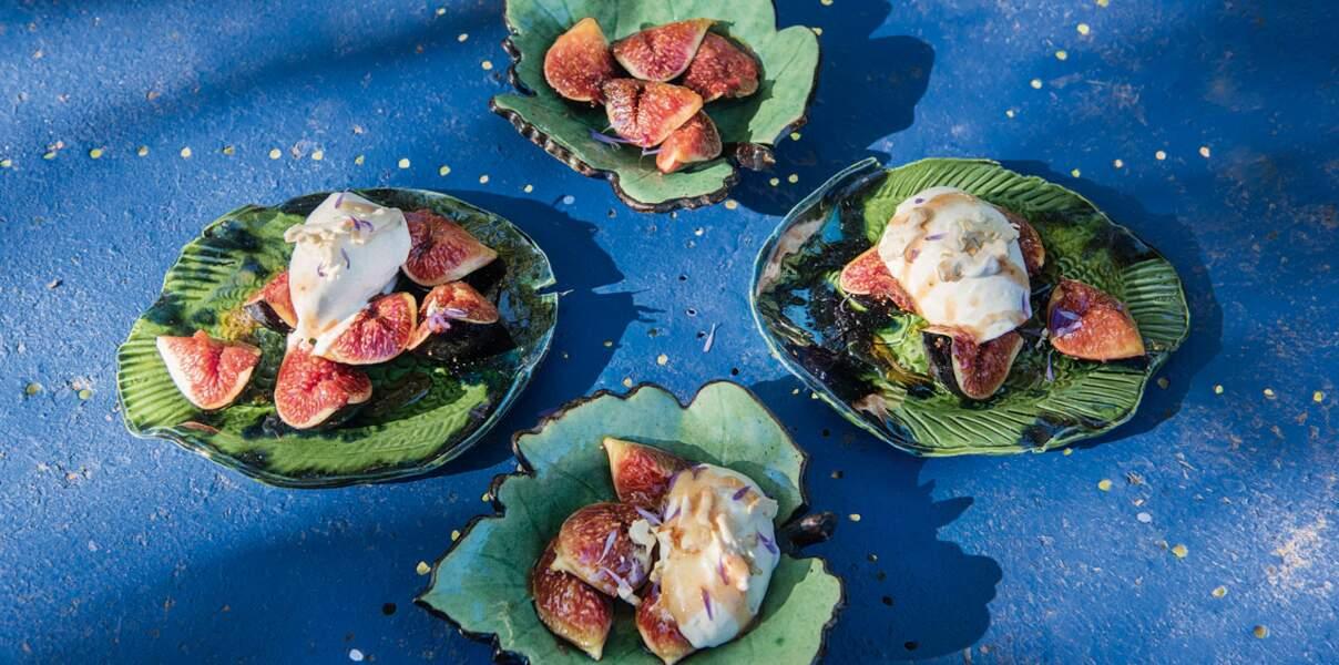 Figues rôties au miel et glace à la brousse