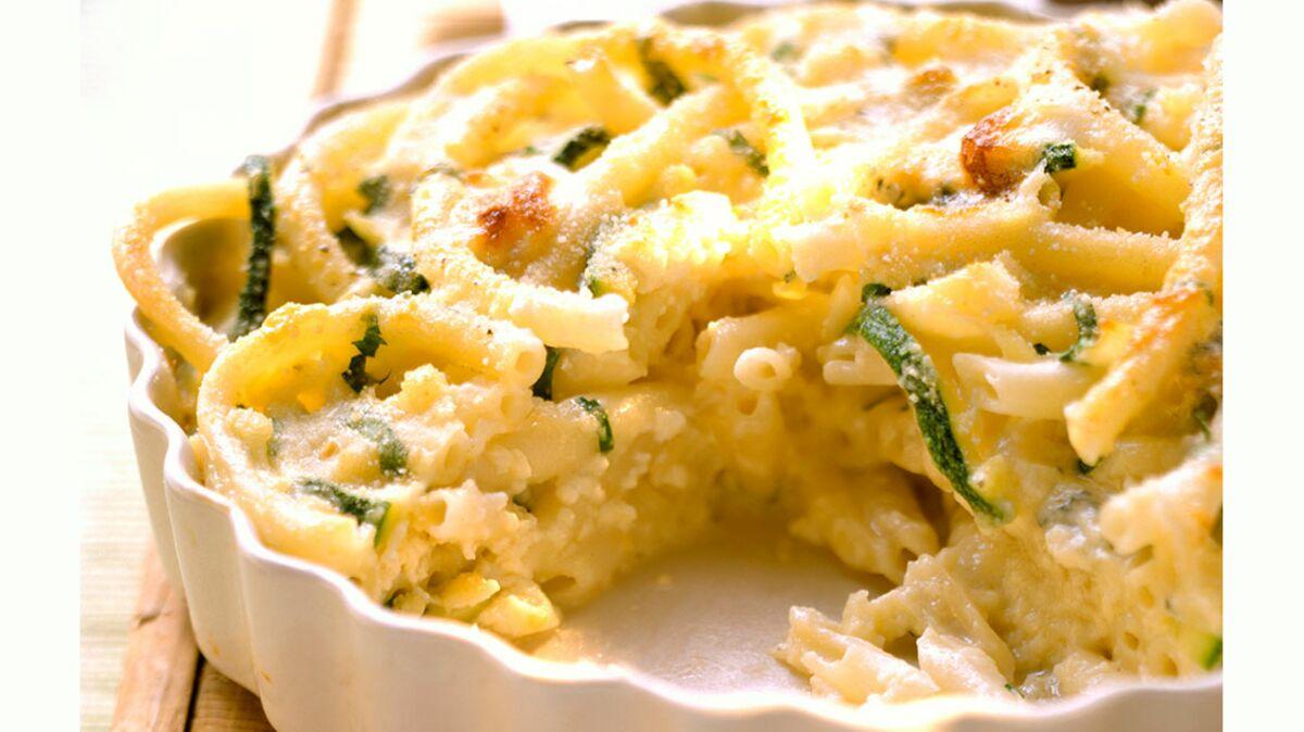 Gratin de macaronis aux courgettes