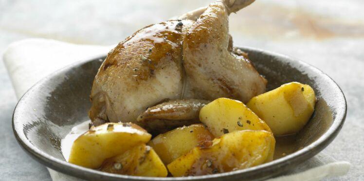 Cailles au cidre et pommes de terre