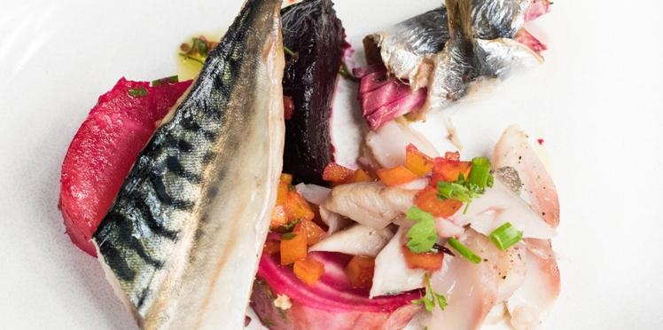 Salade de maquereaux poêlés et betteraves cuites au gros sel