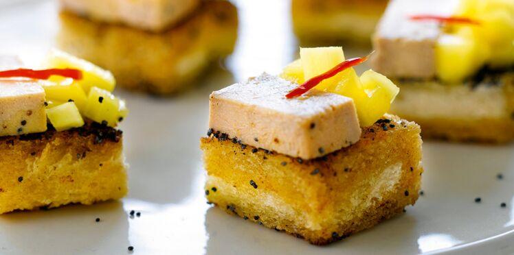 Bouchées au foie gras, mangue et piment