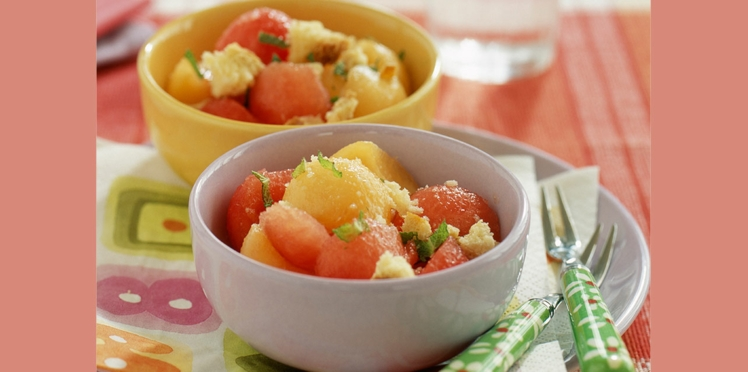 Melon et pastèque à la crème coco