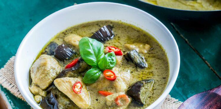 Curry vert de porc aux aubergines