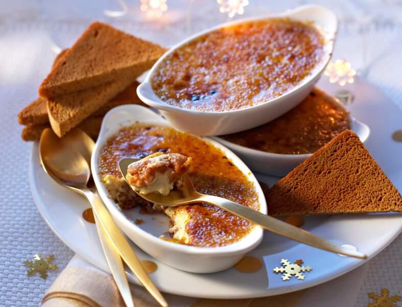 Crème brûlée au foie gras et fruits secs au muscat