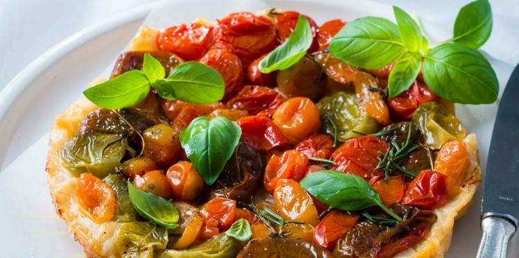 Tatin aux tomates cerises et basilic