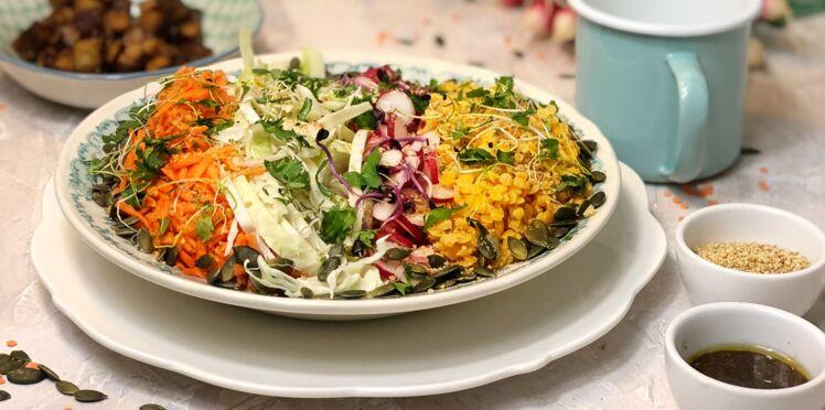Power bowl, radis, tofu et lentilles corail