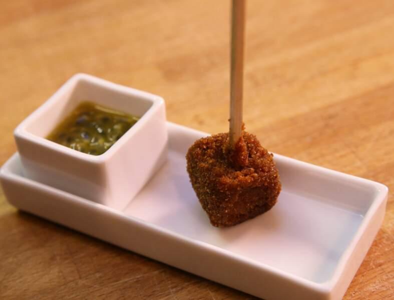 Sucette de foie gras et jus de passion