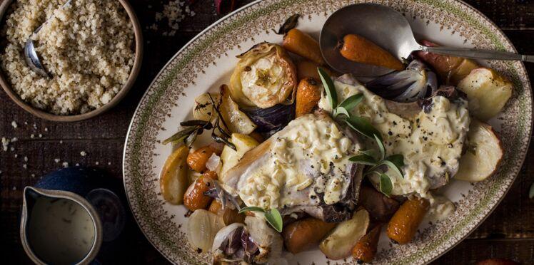 Côte de porc avec quinola aux légumes rôtis et pommes au cidre