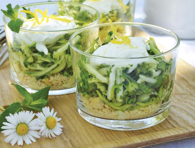 Verrines gourmandes herbes et courgettes