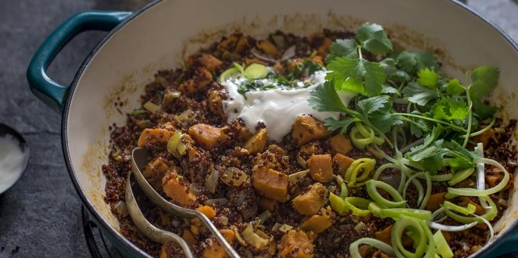 Pilaf de patate douce, poireau et quinoa