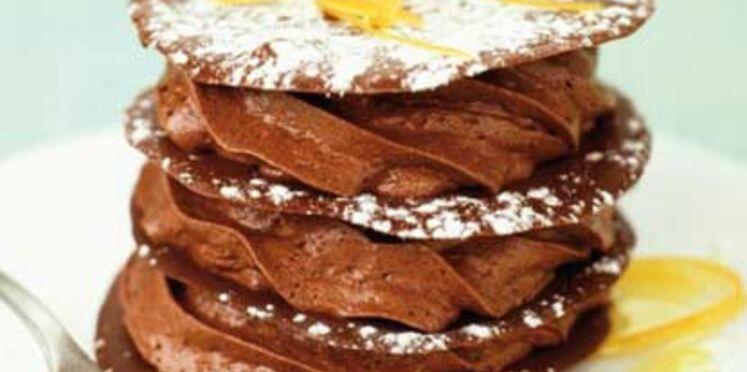 Mille-feuilles au chocolat et sirop d'agrumes