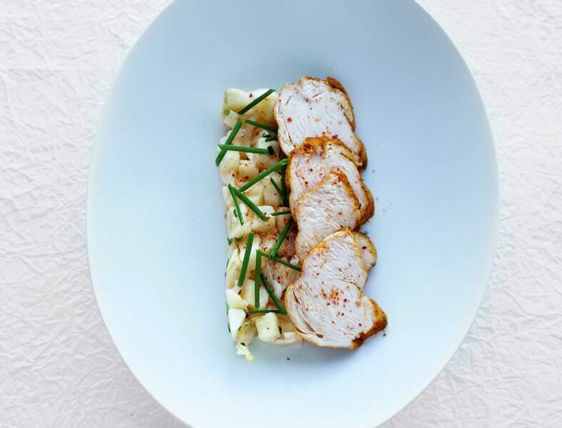 Recette légère : poulet aux épices et salade d'endives aux pommes