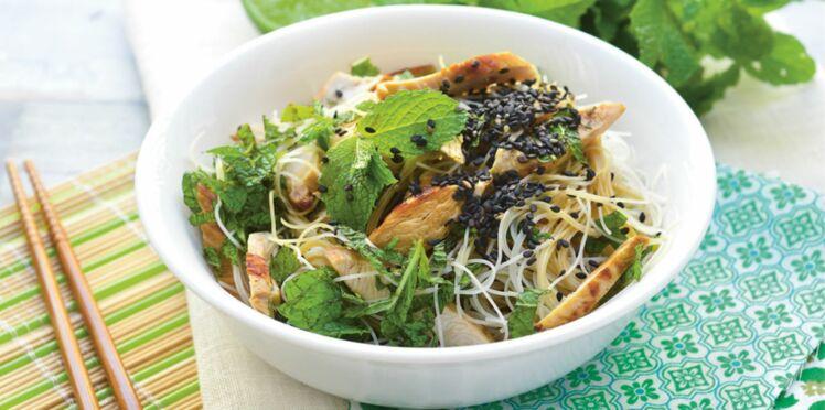 Salade de nouilles fines au poulet et à la menthe