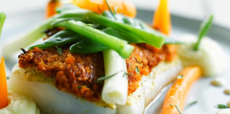Cabillaud au pesto rouge et légumes vapeur