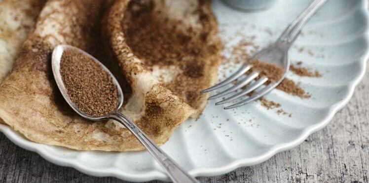 Crêpes à la farine complète, à l'huile  de coco & au sucre de fleur de coco